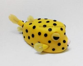 Yellow Boxfish, Boxfish, Boxfish Magnet, Handmade, Scuba Diving, Sculpture, Ornament, Clay, Magnet, Fridge Magnet, Clay Magnet