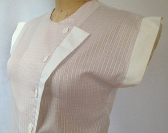 1980s pink plaid 60's style blouse by PAT FASHIONS