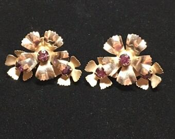 Vintage Amethyst Rhinestone Flower Earrings