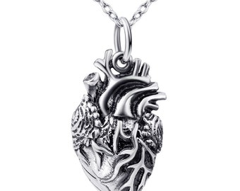 Sterling Silver Anatomical Heart Necklace