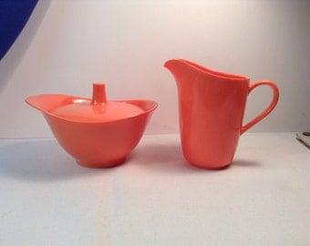 Texas Ware ~ Mid-Century Modern ~ Melmac ~ Cream & Sugar ~ Orange