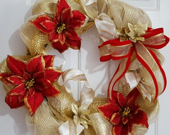 Gold, soft white, and poinsettias wreath