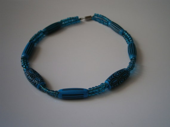 Beaded Necklace: Double Standed Turquoise Beaded Necklace