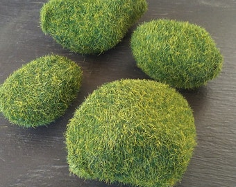 Mini Moss Covered Rocks - Fairy Garden, Doll House, Crafting Supplies - River or Pond Border Rocks