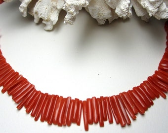 Antique Japanesse Orange Coral Beads & Branch Necklace