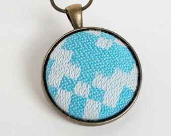 Pendant - Tekhni Ceres Tidepool - Wrap Scrap Jewelry - Tekhni  - Wrap Scrap - Teal - White