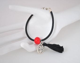 Bracelet ॐ black rubber and ceramic beads