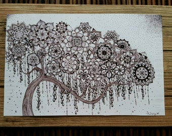 Geometree II: giclee print mounted on recycled hardwood floor panel