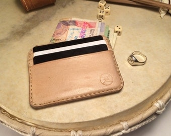 Cardholder vegetable tan leather wallet minimalism handmade handcraft credit card bifold cover case card holder