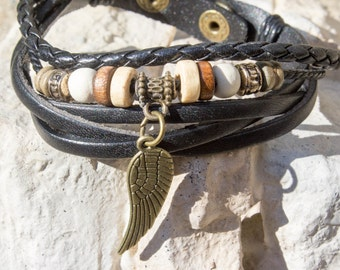 CLEARANCE Winged Leather Stacked Bracelet