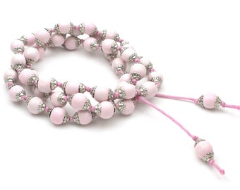 Powder necklace pink boho bracelet