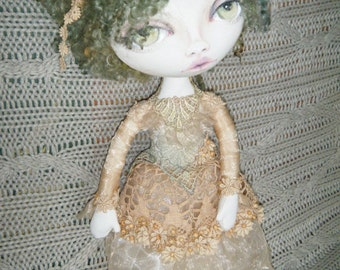 Handmade cloth doll with hand painted face OOAK, Haifa