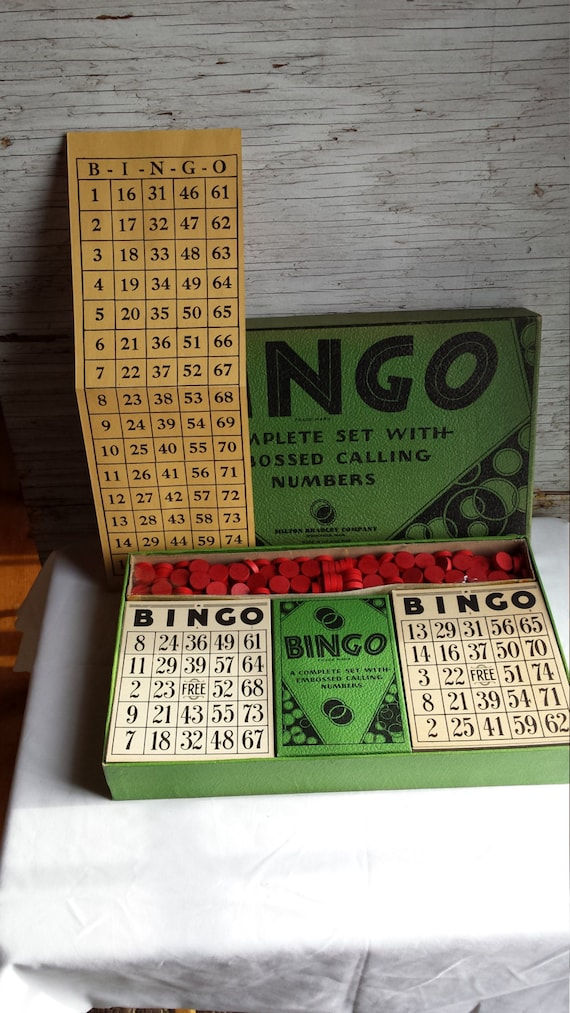 Milton Bradley Company Bingo Game #4148 Springfield, Mass. A Complete set with embossed calling numbers.
