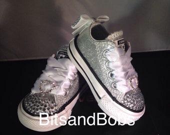 Custom converse glitter bling