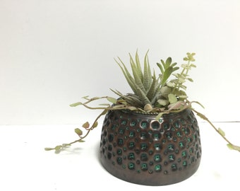 Vintage Brass Planter with Emerald Detail Made in India