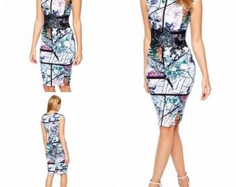Print bodycon dress, party dress, sleeveless dress