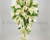Artificial Wedding Flowers IvoryCream Calla Lily Brides Teardrop Bouquet