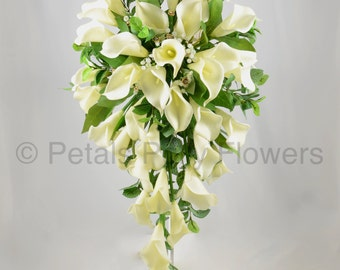 Artificial Wedding Flowers, Ivory/Cream Calla Lily Brides Teardrop Bouquet