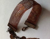 Woven bracelet,Copper colored wire,seed beads bracelet,circulating beads bracelet