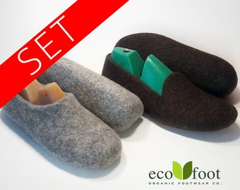 Felted Slippers SET 1+1 Womens and Mens Wool felt slippers Warm home wool shoes Natural slippers is not painted wool Without soles