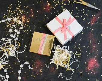 Horizontal Gift Boxes on Chalkboard | Styled Stock Photography | Stock Photo | Blogging Image