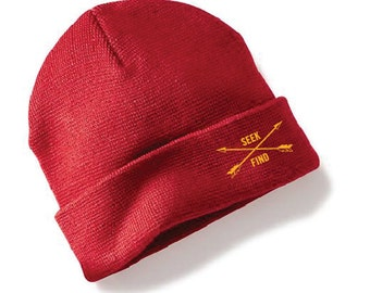Seek & Find Cuffed Camp Beanie - Red