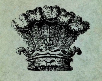 Royal Crown with Ostrich Feathers - Antique Style Clear Stamp
