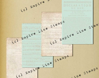 Shabby Collage Antique Style Backgrounds Instant Download Antique French Text & Music on Paper and Blue Background