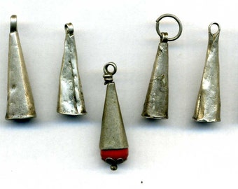 Morocco - Antique Berber (9) silver Cones Beads with one with coral bead - for necklace