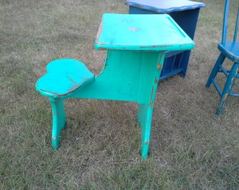 Kids desk, heart shaped seat- kids table- emerald green indigo blue distressed hand painted furniture