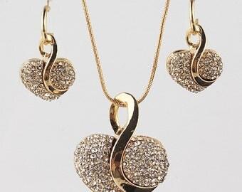 Filled Heart Necklace & Earrings Jewelry Set