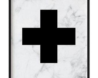 Cross marble print A4