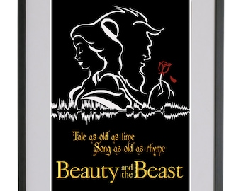Beauty And The Beast A4 Sound Wave Art Print - Tale As Old As Time