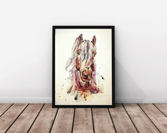 Horse art print / Watercolor horse illustration / Large Formats / Drawing / Sepia / Wall art