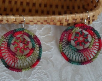 Christmas Romanian Point Lace Earrings - 210VPC