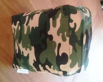 Handmade Door Stop - Green Camouflage Print Fabric - Filled - Novelty Gift