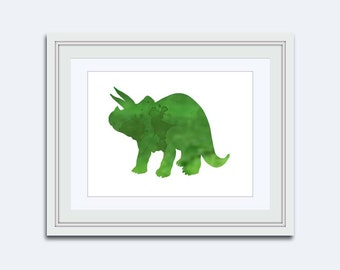 Dinosaur Wall Art - Triceratops printable - dinosaur printable - Printable kids gift - gift for boys - Boys Dinosaur Art - boys wall art
