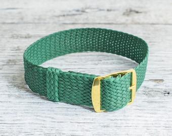Green perlon strap with gold buckle ( 18mm ) waterproof nylon strap, watch strap, watch band, perlon band