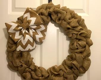 Burlap wreath/ chevron wreath/ rustic wreath