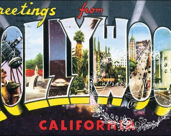 Greetings from HOLLYWOOD Vintage Postcard Image ~ Instant Download