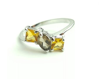 Vintage Citrine & Smoky Quartz Ring in Sterling Silver- Size 8