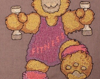 Fitness Teddy cross stitch machine embroidery