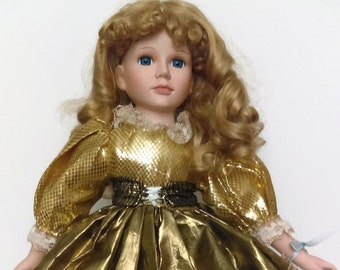 1992 Porcelain Doll Vintage Doll with Gold dress Christmas Decor
