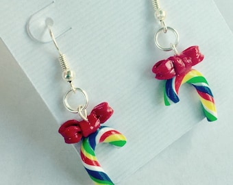 Rainbow Candy Cane Earrings