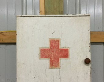 Vintage Wooden First Aid Cabinet, Antique First Aid Cabinet