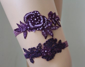 Wedding Garter  Plum  ColorLace Bridal Garter,Wedding Accessory,Bridal Lingerie,Wedding Lingerie