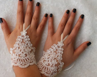 vory Lace Wedding gloves,  lace Party gloves, bridal gloves fingerless gloves  french lace  Gifts