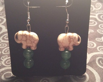 White Elephant Earrings
