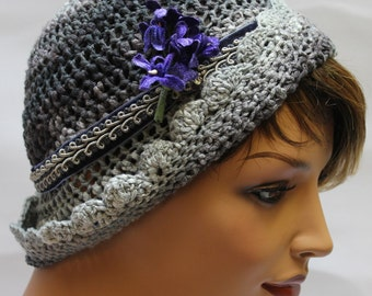 Cloche, Cloche hat, Crochet Cloche Hat, Crocheted Cloche Hat, Downton Abbey hat, 20s Hat, Silver Hat, Pretty Hat