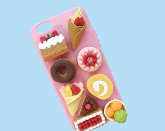 Silicone Decoden Kawaii Phone Case / iPhone 6 6s Plus / Pink / Handmade / Rubber